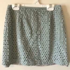 Teal Suede Mini Skirt with Flower Cutouts